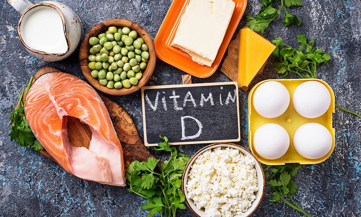 Verschiedene Vitamin-D-Lebensmittel